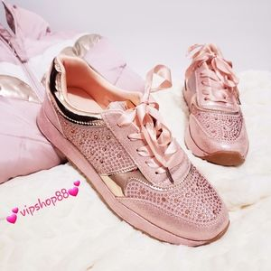 Shoes - 💖BLUSH PINK/ROSE GOLD SNEAKERS SATIN LACE💖